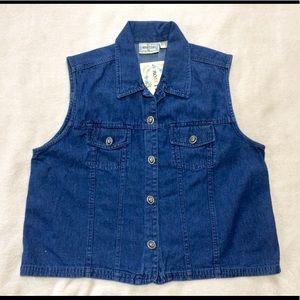 Vintage Denim Vest Size Large Classic  100% Cotton